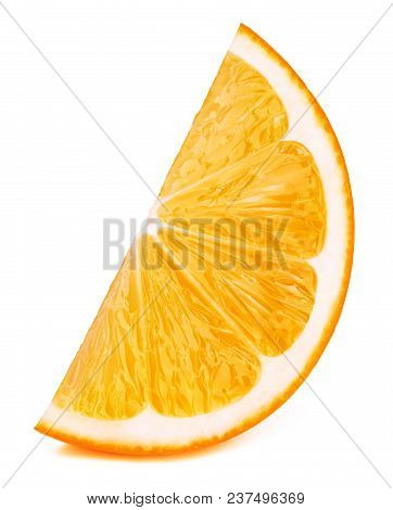 Perfectly Retouched Orange Fruit Slice Isolated On The White Background With Clipping Path. One Of T