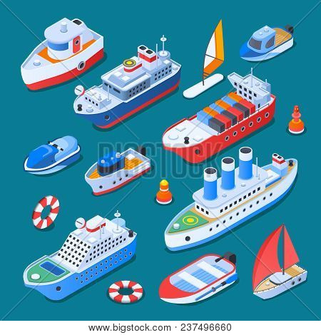 Ships Including Sail Boats, Ferry, Cruiser, Tug, Small Crafts, Isometric Icons Isolated On Turquoise