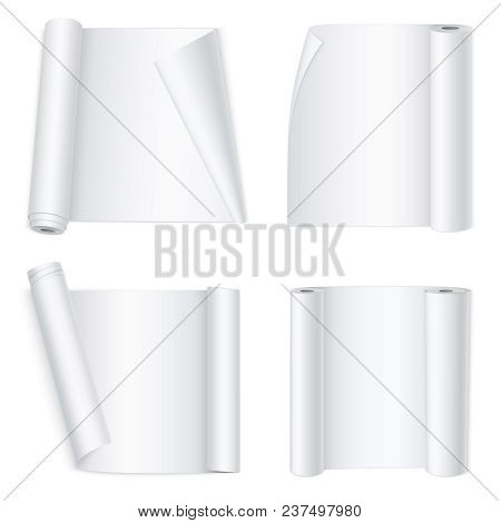 Set Of White Curved Empty Paper Banners In Realistic Style Isolated On White Background 3d Vector Il