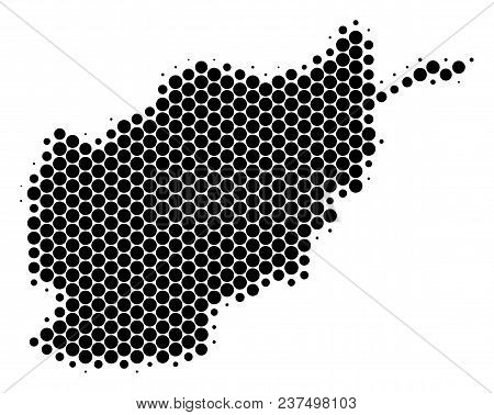 Halftone Round Spot Afghanistan Map. Vector Geographical Map On A White Background. Vector Collage O