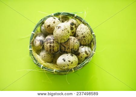 Quail Eggs In Basket, Textured Spring Background With Small Quail Eggs, Eco Protein Products