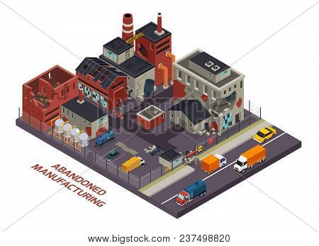 Abandoned Manufacturing Isometric  Composition Of Old Industrial Buildings With Destroyed Walls And