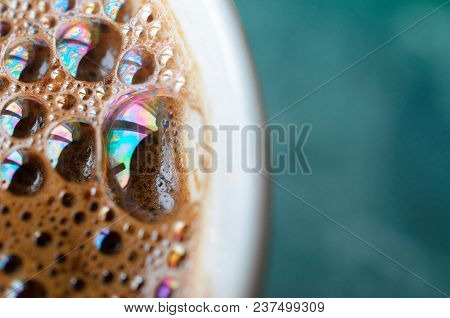 Penne Coffee With Large Bubbles On The Fragment Of The Cup