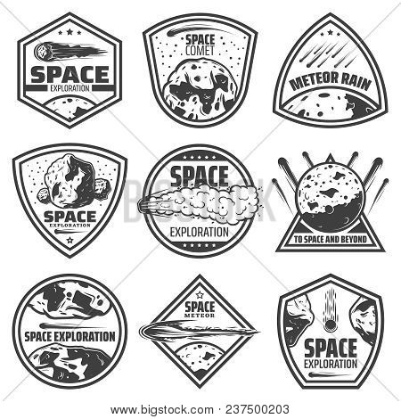 Vintage Monochrome Comets Labels Set With Inscriptions Falling Meteors Asteroids And Meteorites Isol