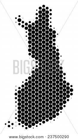 Halftone Round Spot Finland Map. Vector Geographical Map On A White Background. Vector Collage Of Fi