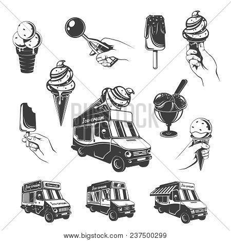 Vintage Monochrome Ice Cream Elements Set With Sundae Scoops Sweet Products In Wafer Cone And Food T