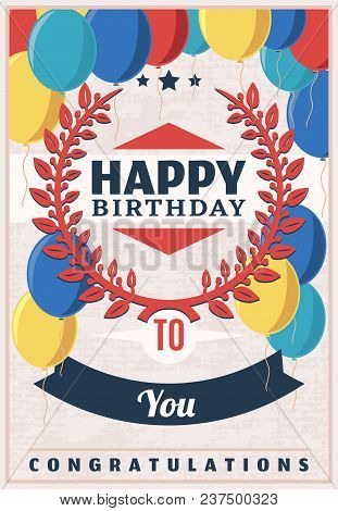 Vintage Birthday Party Poster With Letterings Elegant Red Laurel Wreath And Colorful Balloons Vector