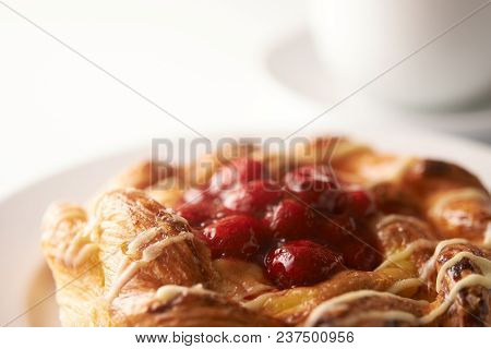 Puff Pastry Tarts With Raspberries Close Up