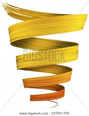 Colorful orange to yellow 3D brush paint stroke swirl isolated on white background. 3D rendering. Colorful joyful design with copy space. Color oil paint curved smear.