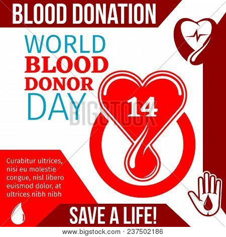 World Blood Donor Day Medical Banner Of Lifesaving Blood Donation. Helping Hand Symbol With Red Hear