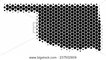 Halftone Circle Oklahoma State Map. Vector Geographic Map On A White Background. Vector Mosaic Of Ok