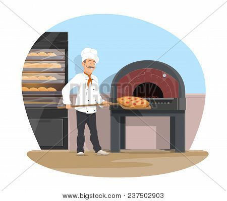 Bakery And Baker At Work Baking Bread. Vector Flat Design Of Bakehouse And Baker Man With Baked Pizz