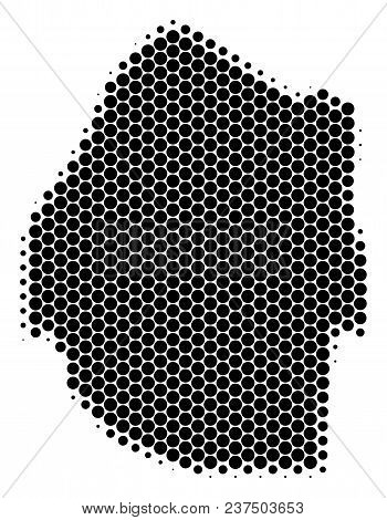 Halftone Circle Swaziland Map. Vector Geographic Map On A White Background. Vector Composition Of Sw
