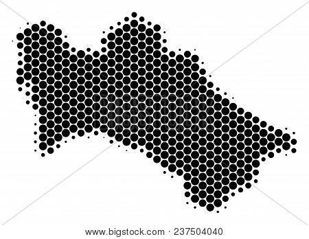 Halftone Circle Turkmenistan Map. Vector Geographical Map On A White Background. Vector Concept Of T