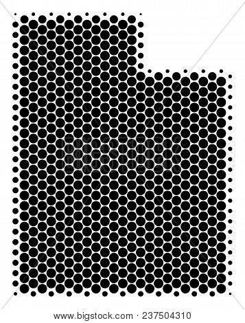 Halftone Round Spot Utah State Map. Vector Geographic Map On A White Background. Vector Concept Of U