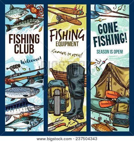 Fishing Club Sketch Banners Templates For Fisherman Sport. Vector Fisher Equipment And Tackles For F
