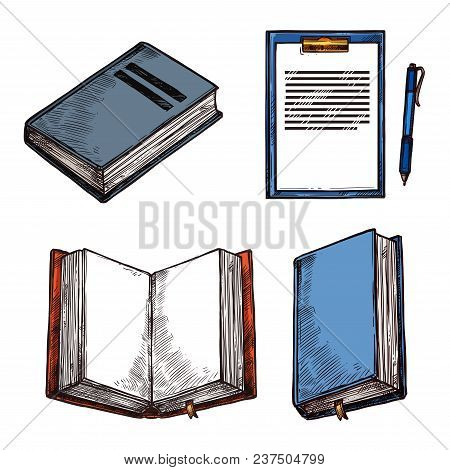 Old Vintage Books And Notepad Sketch Icons For Rarity Bookshop Or Book Store. Vector Design Of Ancie