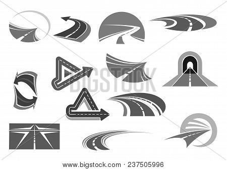 Road Vector Icons Set. Symbols Of Highways And Motorways With Tunnels And Traffic Marking And Direct