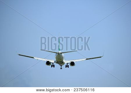 Amsterdam The Netherlands - April, 21st 2018: Ph-hxi Transavia Boeing 737-800 Final Approach To Schi