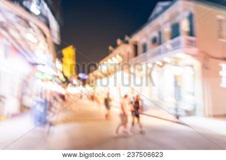 Blurred People Walking Along Bourbon Street In New Orleans, Louisiana