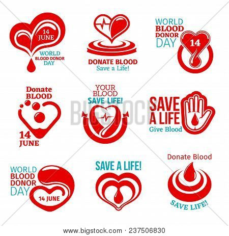 World Blood Donor Day Icon Set For Health Charity Themes Design. Heart And Helping Hand Medical Symb
