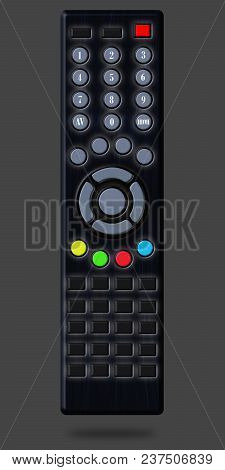Illustration Of The Remote Control. Figure Of A Black Remote For A Tv Set, On An Isolated Background