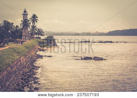 Ruins Of Galle Fort On The Southwest Coast Of Sri Lanka. View Of Old Fortification With A Lighthouse