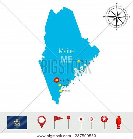 Maine Vector Map Isolated On White Background. High Detailed Silhouette Of Maine State. Vector Flag