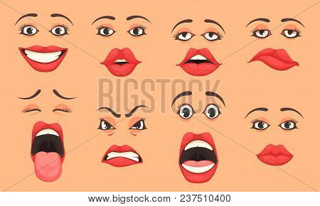 Women Cute Mouth Lips Eyes Facial Expressions Gestures Emotions Of Surprise Happiness Sadness Cartoo