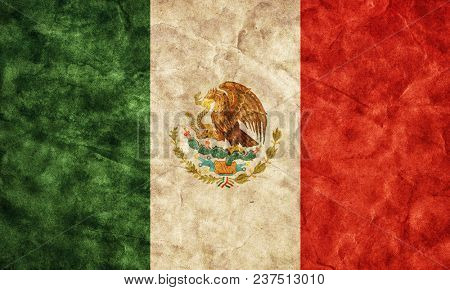 Grunge Mexican flag. Vintage, retro style. High resolution, hd quality. Item from my grunge flags collection.