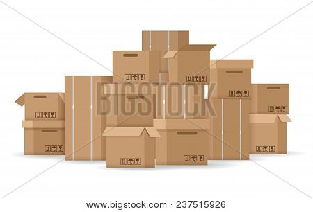 Boxes Stack. Brown Stacked Cardboard Boxes Vector Illustration, Carton Box Pile Isolated On White Ba