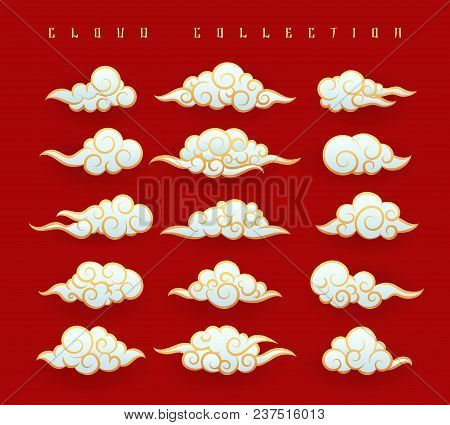 Oriental Clouds. Vector Chinese Or Japanese Water Clouds Graphic Set On Red Background For Oriental