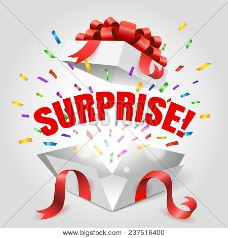 Surprise Box. Vector Open Gift Box With Surprise Text And Red Ribbon Isolated On White Background Fo
