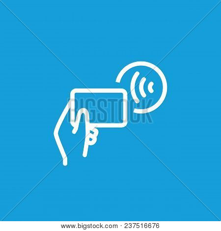 Line Icon Of Wi-fi Symbol And Hand Holding Mobile Phone. Wi-fi Connection, Router, Wi-fi Access Poin
