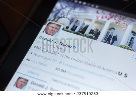 Ryazan, Russia - April 19, 2018 - Donald Trump, Usa President Twitter Account On The Display Of Tabl