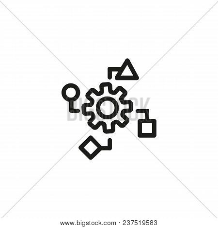 Data Processing Line Icon. Cycle, Gear, Cogwheel. Data Management Concept. Can Be Used For Topics Li
