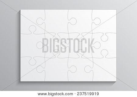 Grey Piece Puzzle Rectangle Banner. Puzzle Business Presentation. Rectangle Puzzle Infographic. 12 S