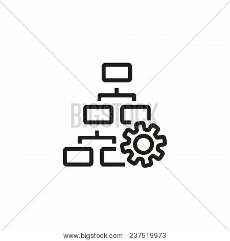 Hierarchy Chart With Gear Line Icon. Flowchart, Cogwheel, Scheme. Digital Technology Concept. Can Be