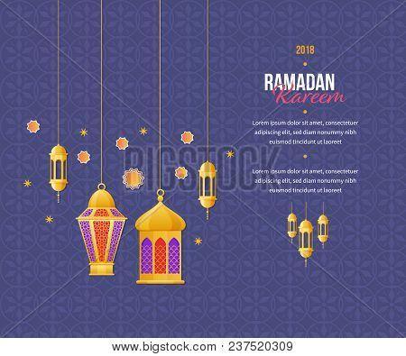 Ramadan kareem greeting card vector photo bigstock ramadan kareem greeting card with festive lights traditional arabic lanterns islam muslim calligr m4hsunfo
