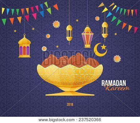 Ramadan Kareem Greeting Card With Picture Of Sweet Dates Fruit In The Gold Metal Arabic Bowl. Islam,