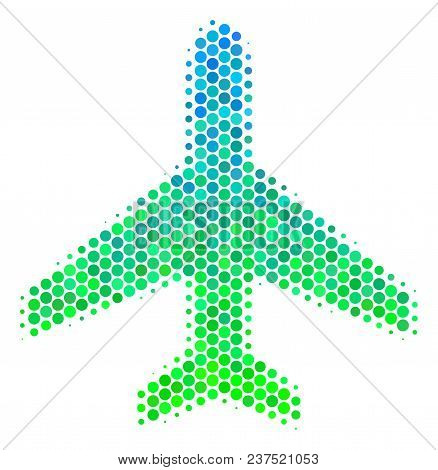 Halftone Circle Air Plane Icon. Icon In Green And Blue Color Tones On A White Background. Vector Col
