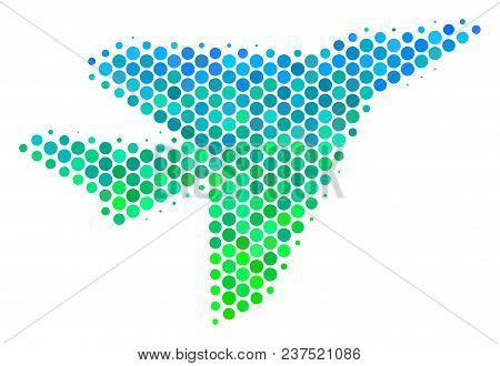 Halftone Dot Airplane Intercepter Icon. Pictogram In Green And Blue Color Hues On A White Background