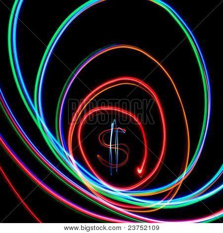 Dollar In Neon Spiral
