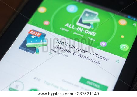 Ryazan, Russia - April 19, 2018 - Max Cleaner Mobile App On The Display Of Tablet Pc