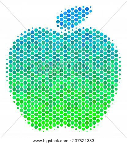 Halftone Round Spot Apple Icon. Pictogram In Green And Blue Color Hues On A White Background. Vector