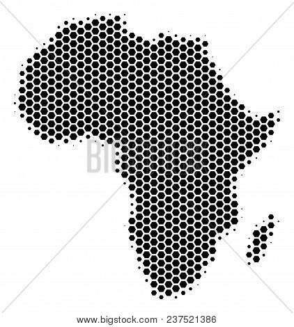 Halftone Hexagonal Africa Map. Vector Geographical Map On A White Background. Vector Pattern Of Afri