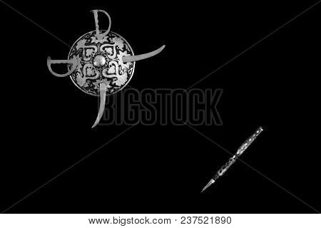 Decorated Round Sword And Shield And Pen Isolated In Black Background With Copy Space For Text. Blac