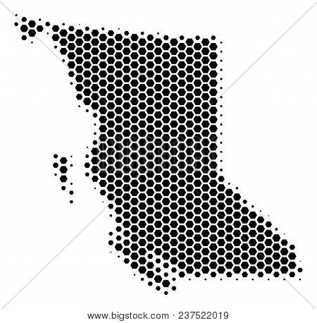Halftone Hexagonal British Columbia Province Map. Vector Geographic Map On A White Background. Vecto