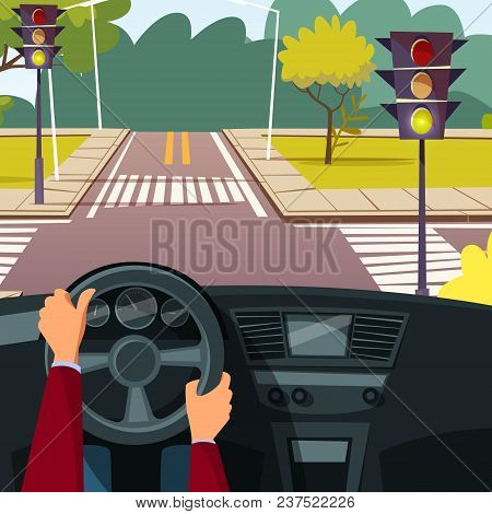 Vector Cartoon Man Hands On Car Wheel Driving Vehicle On Street Crossroad Background. Behind The Ste