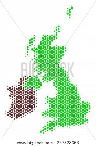 Halftone Hexagonal Great Britain And Ireland Map. Vector Geographic Map On A White Background. Vecto